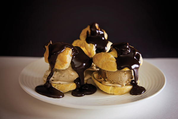 Cream Puffs with Coffee Ice Cream