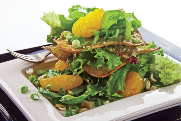 Crispy Sesame Salad Stack with Orange-Soy Vinaigrette