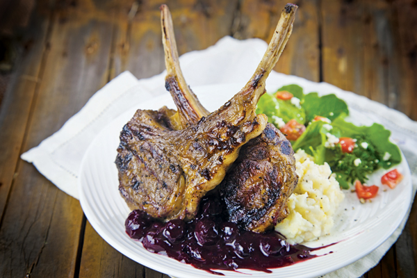 Grilled Lamb Chops with Blueberry-Rosemary Sauce