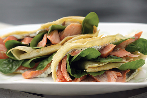 Herb Crepes with Smoked Salmon and Lemon Zest