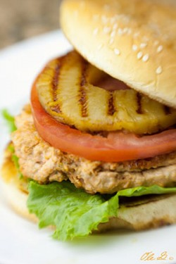 Salmon Burger with Grilled Pineapple
