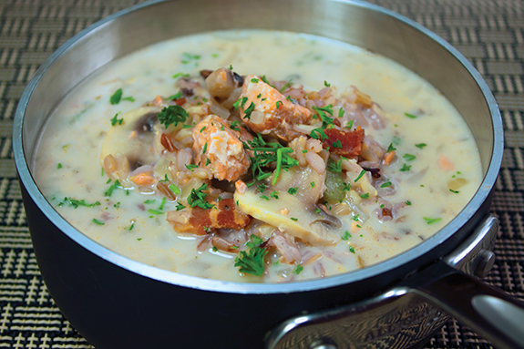 Mushroom, Salmon and Wild Rice Soup