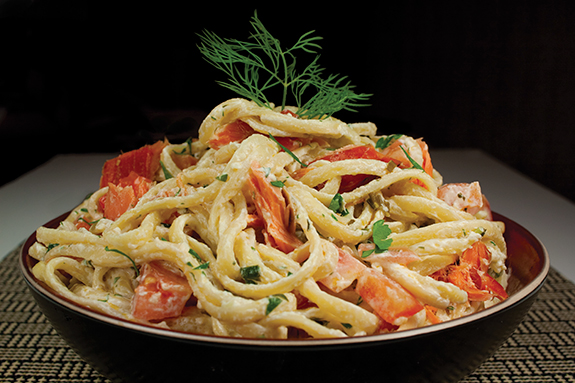 Linguine with Fresh Herbs, Goat Cheese and Smoked Salmon