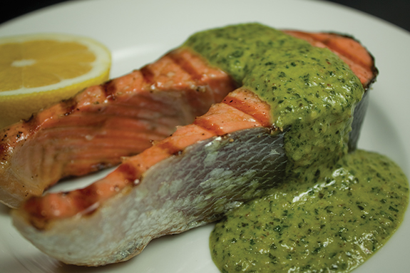 Grilled Salmon with Creamed Pesto Sauce