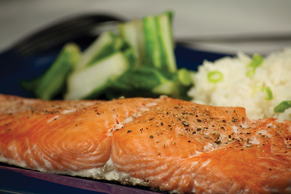 Roasted Salmon with Bok Choy and Coconut Rice