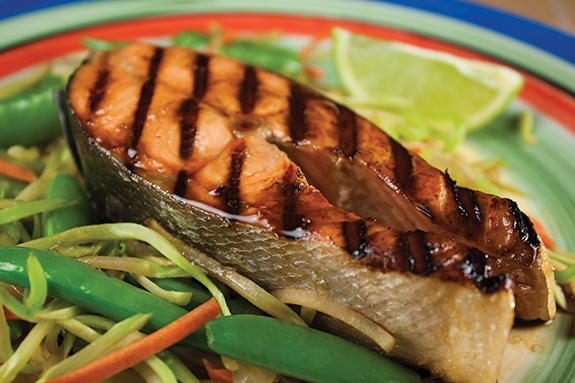 Soy Maple Glaze Grilled Salmon Steaks