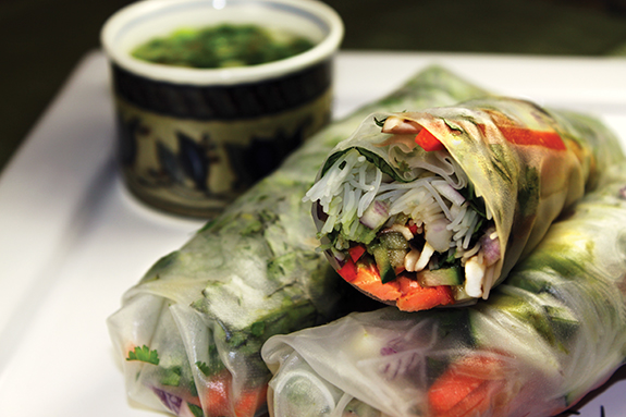 Spring Rolls with Smoked Salmon and Fresh Basil