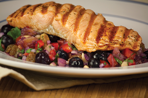 Seared Salmon with Wild Blueberry Salsa